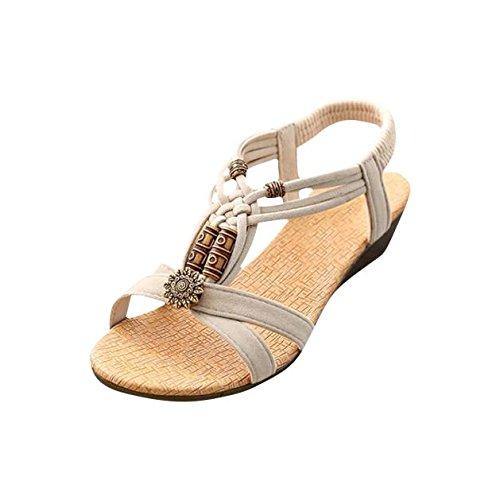 Ballerina Flat Card (Clearance! Hot Sale! ❤️ Women's Sandals, Neartime Summer Comfortable Casual Peep-toe Flat Buckle Shoes Roman Style Sandals (8.5, Beige))