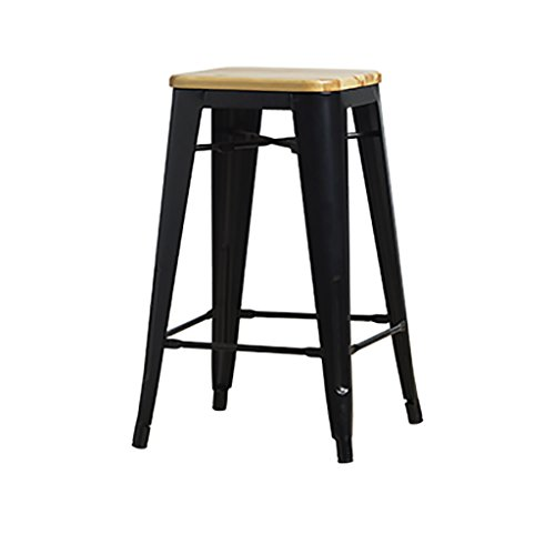 KXBYMX Nordic Creative bar Chair Solid Wood Cushion Industrial bar Chair bar Chair Cafe Wrought Iron Stool - Home Stool (Color : (Wrought Iron Cafe)
