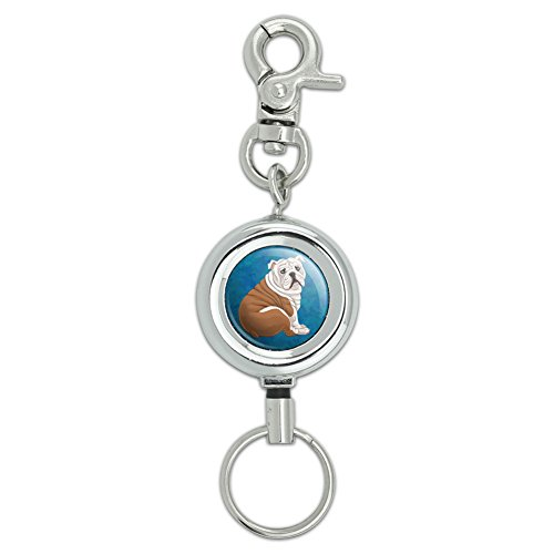 English Bulldog Lanyard Belt ID Badge Key Retractable Reel (Bulldog Keychain Holder)