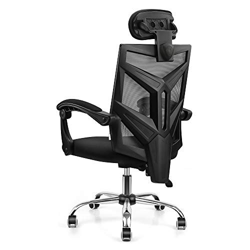 VANSPACE DC03 Ergonomic Mesh Office Chair, High Back Computer Chair Desk Chair Home Mesh Chair with Thick Cushion, Soft Adjustable Headrest and Armrests - Black