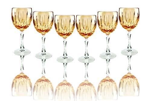 VICTORIA BELLA - Juego de 6 Vasos de Cristal de Corte Ruso Hechos a Mano (300 ml), Color Naranja