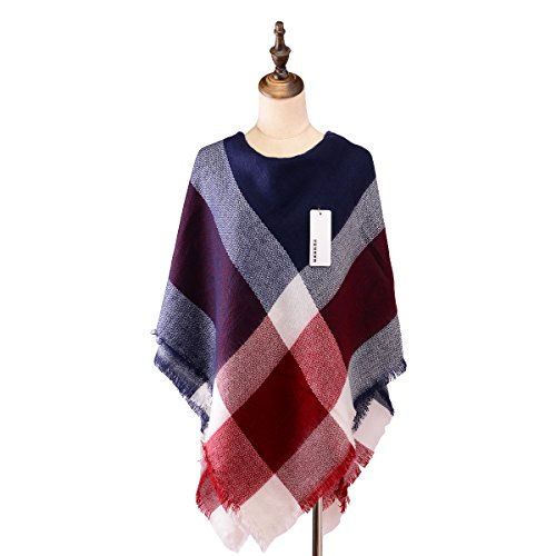 Women's Classic Plaid Tartan Grids Scarf Pashmina Blanket Winter Wraps Shawl (blue red)