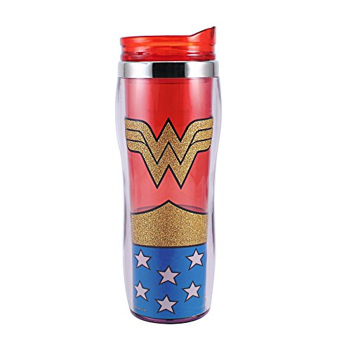 Silver Buffalo WW0170G DC Comics Wonder Woman Uniform Glitter Curved Plastic Travel Tumbler, 16-Ounces