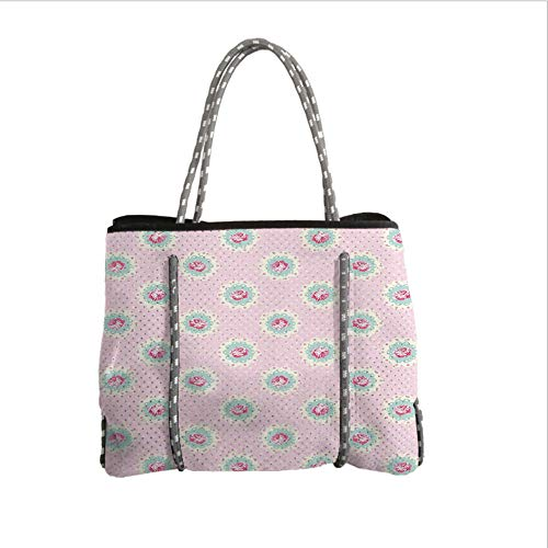 iPrint Neoprene Multipurpose Beach Bag Tote Bags,Shabby Chic Decor,Retro Polka Dotted Backdrop and Floral Motifs Roses Cottage,Baby Pink White Seafoam,Women Casual Handbag Tote Bags