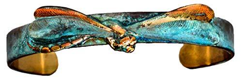 Elaine Coyne Verdigris Patina Solid Brass Realistic Dragonfly Skinny Cuff Bracelet