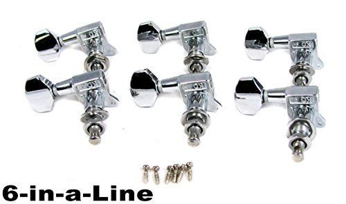 6pc set of Chrome 6-in-a-Line Sealed-Gear Guitar Tuners/Machine Heads ()