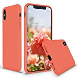 SURPHY Silicone Case for iPhone X iPhone Xs Case, Thicken Liquid Silicone Shockproof Protective Case Cover (Full Body Thick Case with Microfiber Lining) Compatible with iPhone X XS 5.8, Nectarine
