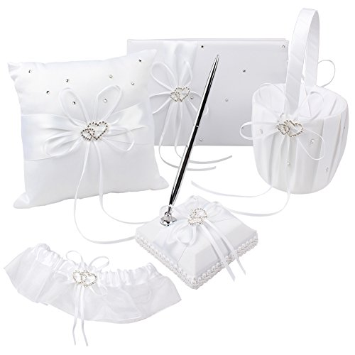 OurWarm 1 Wedding Guest Book + 1 Pen Set + 1 Flower Girl Basket + 1 Ring Pillow + 1 Garter White Cover, Decor White Ribbon Bowknot Double Heart Rhinestone Rustic Elegant Wedding Party Favor