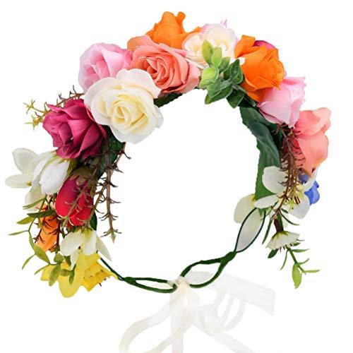 (Vivivalue Rose Flower Crown Boho Flower Headband Hair Wreath Floral Headpiece Halo with Ribbon Wedding Party Festival Photos)