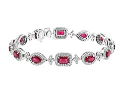 White Gold Burmese Ruby and Diamond Bracelet