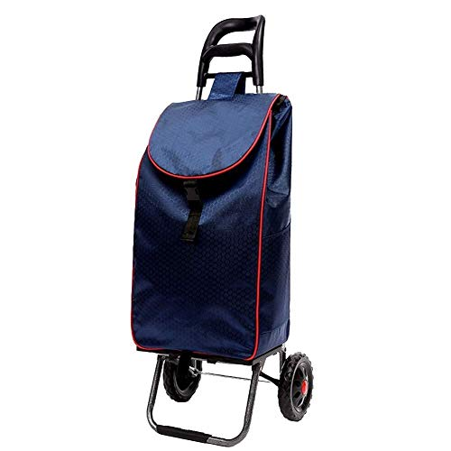 LIXBD Outdoor Product/Mountaineering Shopping Cart, Trolley, Trolley, Folding Trolley, Supermarket Portable Cart, Size: 352090CM. (Color : Blue)