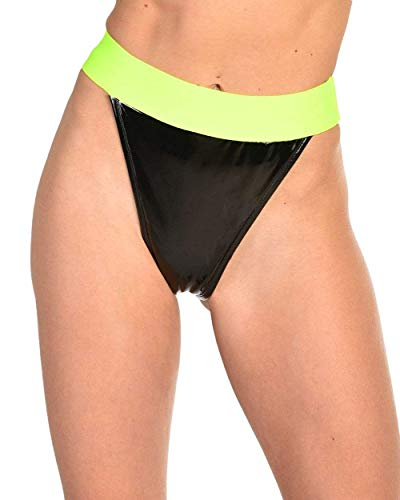 (iHeartRaves Neon Trim Fast Lane Vinyl High Waisted Bottoms (Black, Medium))