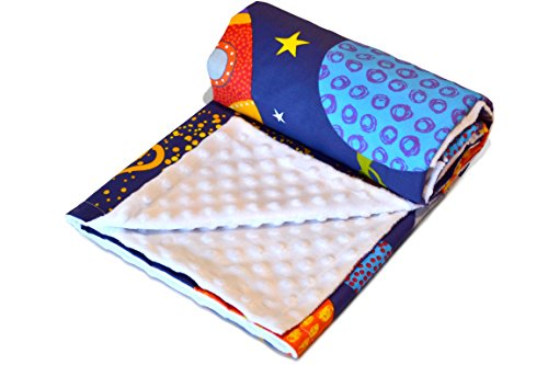 Baby-blanket space-rocket-stars with warm-dotted minky-plush soft-cotton, 29