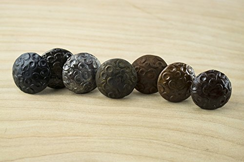 10 Pack Door Clavos Decorative Nails 1'' Dimpled Pattern Rustic Hammered Iron Various Finishes Available by Borderland Rustic Hardware