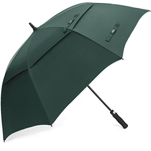 G4Free 62 Inch Automatic Open Golf Umbrella Extra Large Oversize Double Canopy Vented Windproof Waterproof Stick Umbrellas(Dark Green) (Patio Sun Umbrella Uk)