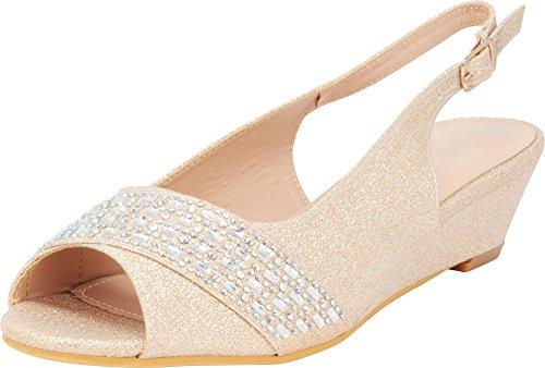 Cambridge Select Women's Peep Toe Glitter Crystal Rhinestone Buckled Slingback Low Wedge Sandal,8.5 B(M) US,Champagne