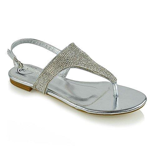 ESSEX GLAM Womens Toe Post Flat Sandals Rhinestones Ladies Slingback T-Bar Holiday Shoes Silver Metallic STMHJwC