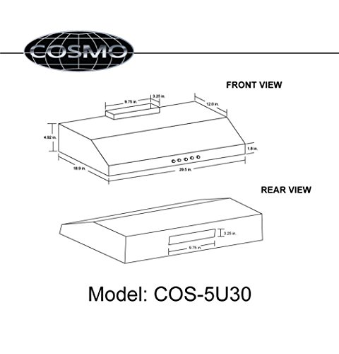 cosmo 30 in  250 cfm ducted under cabinet range hood with
