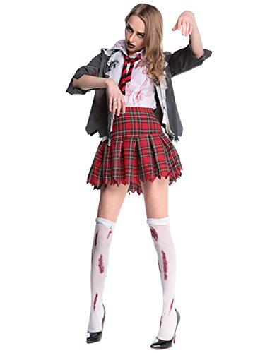 [Ninimour Deluxe High School Girl Zombie Bloody Uniform Halloween Costume Set] (High School Vampire Costume)