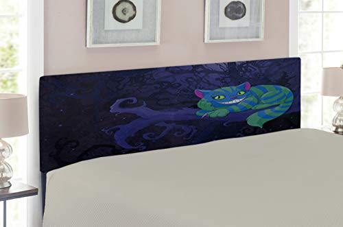 Lunarable Alice in Wonderland Headboard, Chester Cat Sitting on Branch Fairytale Forest with Character, Upholstered Decorative Metal Headboard with Memory Foam, for Full Size Bed, Green Blue Purple ()