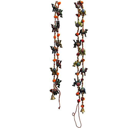 Traditional Indian Door Decorative Hanging Cotton String Camel Ornaments with Bells (Set of 2) ()