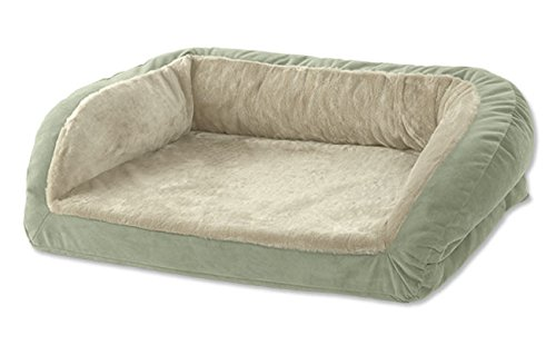 Orvis Memory Foam Bolster Dog Bed With Faux Fur / Small Dogs Up To 40 Lbs., Sage, Small