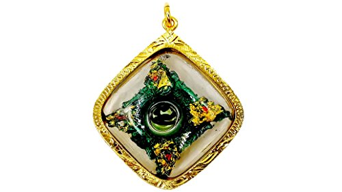 Naga eating tail nak snake pendant gold case thai amulet powerful life protection with gold hanger