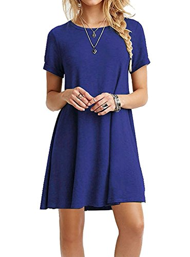 TINYHI Women's Swing Loose Short Sleeve Tshirt Fit Comfy Casual Flowy Tunic Cotton Dress Royalblue, Medium