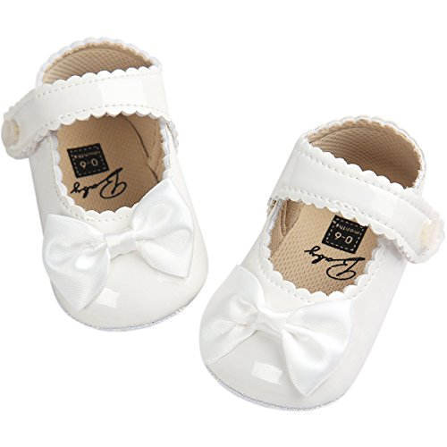 Leather Girls Shoes White (Fire Frog Baby Girls Mary Jane Pu Leather Bowknot Pincess Prewalker Christening Baptism Crib Shoes)