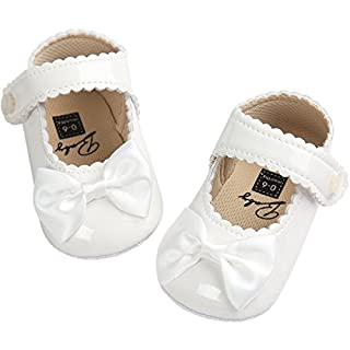 Fire Frog Baby Girls Mary Jane Pu Leather Bowknot Pincess Prewalker Christening Baptism Crib Shoes White