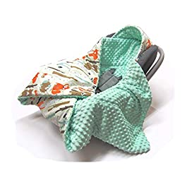 Hooded CAR SEAT PADDED BABY BLANKET Reversible Cotton/Minky * COVER * COSYTOES * PUSHCHAIR BLANKET (Forest Animals with Mint Minky)