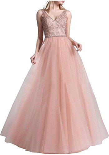 Brautmutterkleider Ausschnitt Abendkleider Braut La V Damen Promkleider Perlen Spitze Marie Rosa Langes wxRwnTf8q