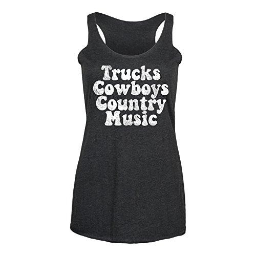 Instant Message Trucks Cowboys Country Music - Ladies Triblend Racerback Tank Black