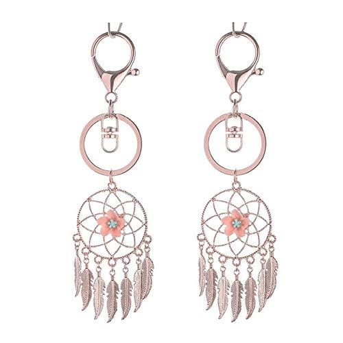 HAIHF Metal Key Ring,Dream Catcher Leaf Tassel Handbag Pendant Bohemian Style Key Chain Fashion Feather Key Ring Cute Car Key Ring for Women Girls (2 Pcs)