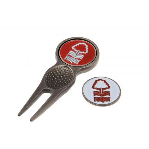Nottingham Forest F.C. Divot Tool & Marker- executive divot tool- with 2 double sided ball markers- approx 8cm x 3cm- in a blister pack- official licensed product by Nottingham Forest F.C. by Nottingham Forest F.C.