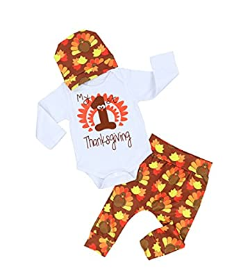 Thanksgiving Outfit Newborn Baby Boy Girl Letter Print Romper Turkey Print Pant Hat Headband 4pcs Clothes Set