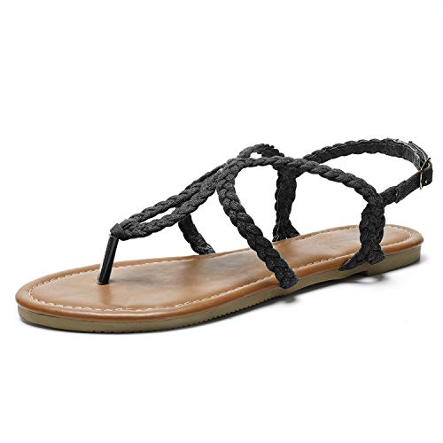 SANDALUP Flat Sandals Hand-Woven with Canvas for Summer Women. Black 06.5 ()