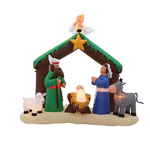 Outdoor Lighted Nativity Scene Holy Family Set in US - 6