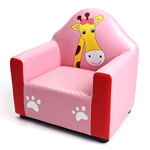 BOCCA Children's Sofa Chair, 16.5'' L x 12.5'' W x 17.1'' H Ideal for Children 3 to 7 Age, Pink PVC Giraffe Pattern Kid's Sofa by BOCCA