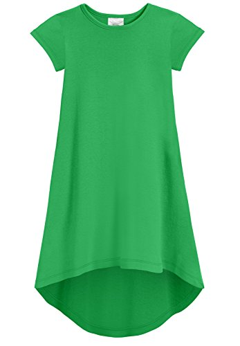 City Threads Girls Jersey Short Sleeve Hi Lo Maxi Dress Top Blouse Shirt Stylish Modern All Cotton for Sensitive Skins, Elf Green, 16
