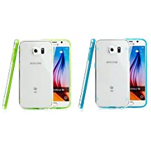 Galaxy N4 Set of Two Sky Blue and Lime Green Luminous Fluorescent Glow in the Dark Bumper Thin Slim Clear Transparent Hard [Hard Clear PC + Gel Rim] Cover Case for Samsung Note 4 By Tech Express