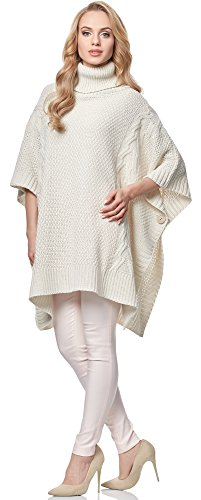 Merry Style Poncho para mujer MSSE0033 Crema