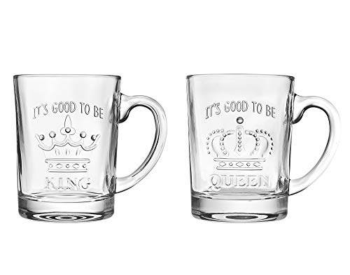 Coffee Mugs Glasses Set - King/Queen Fun Gift Mugs, for Coffee, Tea, Hot Beverages, Juice or Water - 14oz, set of 2