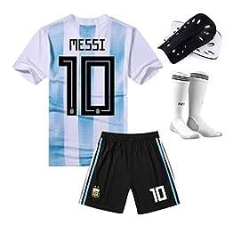 HWHS316 T-Shirt de Football Costume de Sport Maillot 10Th Lionel Messi Football Vêtements de Sport Adulte Et Enfants Football T-Shirt Garçon,L175~180CM