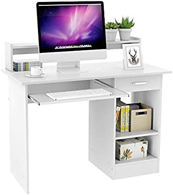 Yaheetech White Computer Desk With Drawers Storage Shelf Keyboard