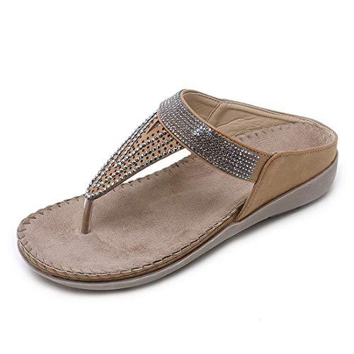 (APTRO Women's Rhinestone T-Strap Thong Flat Sandals Wedge Flip-Flops Summer Sandals #2081 Kahki 37)