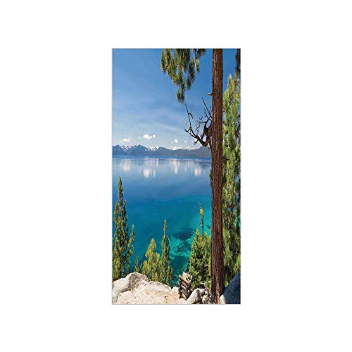 (Decorative Privacy Window Film/Panoramic Perspective from East Shore at Lake with Pine Trees and Reflections Image/No-Glue Self Static Cling for Home Bedroom Bathroom Kitchen Office Decor Green Blue )
