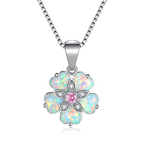 CiNily Flower Opal Pendant Necklace Box Chain 18K White Gold Plated Pink Topaz Zircon Opal Jewelry for Women, Gemstone Necklaces Lovers Birthday Friendship Jewelry ()