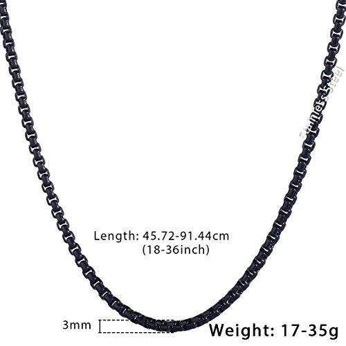 dc8a6f1dd1d0 80% OFF Trendsmax 3 mm de cadena para hombre Negro Tono inoxidable redondas  de acero