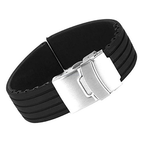 Silicone Rubber Watch Strap Band Deployment Buckle Waterproof 20mm - 4